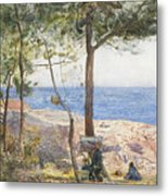 An Artist Painting By The Sea Metal Print