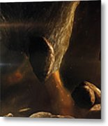 An Asteroid Field Next To An Earth-like Metal Print