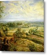 An Autumn Landscape With A View Of Het Steen In The Early Morning Metal Print