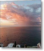 An Early Morning View From A Balcony In Positano, Campania, Ital Metal Print