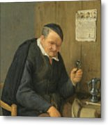 An Elderly Man Seated Holding A Wineglass Metal Print