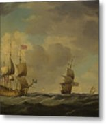 An English Flagship Under Easy Sail In A Moderate Breeze Metal Print