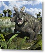 An Estemmenosuchus Mirabilis Stands Metal Print