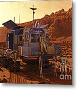 An Explorer Departs A Manned Rover Ina Metal Print