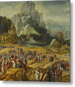 An Extensive Landscape With The Preaching Of Saint John The Baptist And The Baptism Of Christ Metal Print