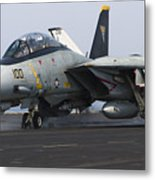 An F-14d Tomcat Launches Off The Flight Metal Print