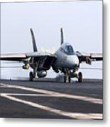 An F-14d Tomcat Makes An Arrested Metal Print