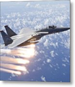 An F-15 Eagle Releases Flares Metal Print