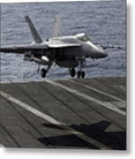 An Fa-18e Super Hornet Prepares To Land Metal Print