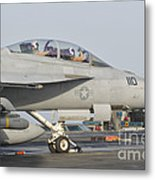 An Fa-18f Super Hornet Ready To Launch Metal Print