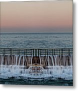 An Imagined Symmetrical Seawall As A Wave Tops It Metal Print