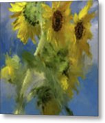 An Impression Of Sunflowers In The Sun Metal Print