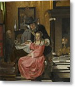An Interior With A Woman Refusing A Glass Of Wine Metal Print