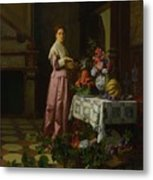 An Interior With Fruit And Flowers Metal Print