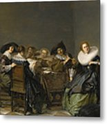 An Interior With Musicians Seated Around A Table  Metal Print