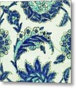 An Iznik Blue And White Pottery Tile, Turkey, 17th Century, By Adam Asar, No 18b Metal Print
