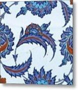 An Iznik Polychrome Pottery Tile, Turkey, Circa 1570-85, By Adam Asar, No 18 Metal Print