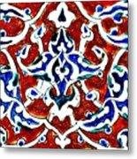 An Iznik Polychrome Pottery Tile, Turkey Circa 1580, By Adam Asar, No 18b Metal Print