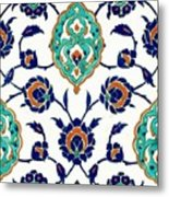 An Iznik Polychrome Tile, Turkey, Circa 1575, By Adam Asar, No 23h Metal Print