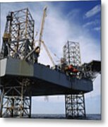 An Oil And Gas Drilling Platform Metal Print