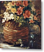 An Old Basket With Flowers Metal Print