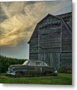 An Old Cadillac By A Barn And Cornfield Metal Print