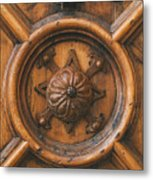An Old Carved Wooden Door Metal Print