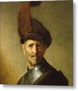 An Old Man In Military Costume Metal Print