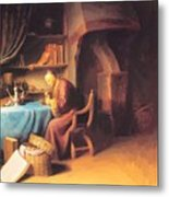 An Old Man Lighting His Pipe In A Study Metal Print