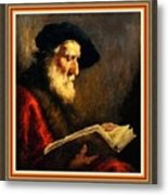 An Old Man Reading P B With Decorative Ornate Printed Frame. Metal Print
