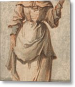 An Old Market Woman Grinning And Gesturing With Her Left Hand Metal Print