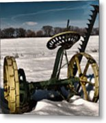 An Old Mower In The Snow Metal Print