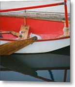 An Old Sailboat Tied To The Dock Metal Print