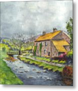 An Old Stone Cottage In Great Britain Metal Print
