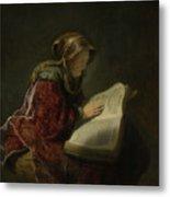 An Old Woman Reading - Prophetess Hannah Metal Print