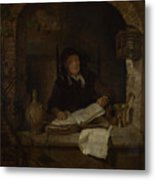 An Old Woman With A Book Metal Print
