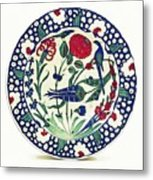 An Ottoman Iznik Style Floral Design Pottery Polychrome, By Adam Asar, No 1a Metal Print
