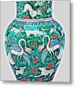 An Ottoman Iznik Style Floral Design Pottery Polychrome, By Adam Asar, No 7a Metal Print