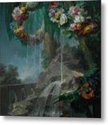 An Outdoor Scene With A Spring Flowing Into A Pool Metal Print