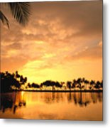 Anaehoomalu Bay Sunset Metal Print