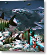 Anaglyph Whales Metal Print