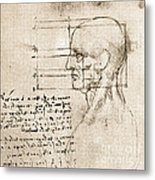 Anatomical Drawing By Leonardo Da Vinci Metal Print
