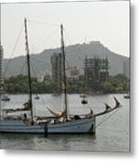 Anchored Sailboat Metal Print