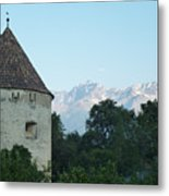 Ancient Building And Mountains Metal Print