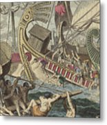 Ancient Greek Sea Battle Metal Print