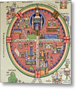 Ancient Map Of Jerusalem And Palestine Metal Print by French School
