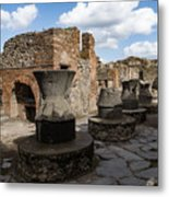 Ancient Pompeii - Bakery Of Modestus Millstones And Bread Oven Metal Print