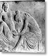 Ancient Roman Relief Carving Of Midwife Metal Print
