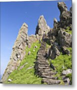 Ancient Steps Leading To Celtic Monastery, Skellig Michael, County Kerry, Ireland Metal Print