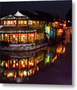 Ancient Style Restaurant On Water By Stone Bridge Metal Print